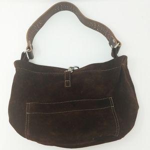 Tylie Malibu Brown Suede Leather Studded Hobo Bag